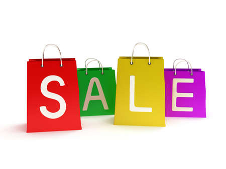 promover: quatro cl�ssicos coloridas sacolas de compras com al�as com inscri��o promover a venda isolada no branco. (3d rendem)