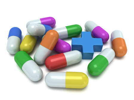 capsules: Medical cross and pale of pill capsules. 3d render. Pills drugs medicine healthcare concept Stock Photo