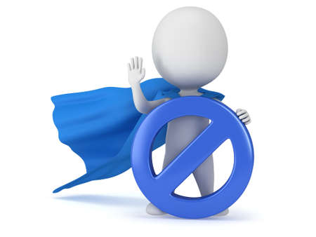 3d man - brave superhero with blue cloak and forbidden sign. Isolated on white 3d render. Ban, web, no concept photo