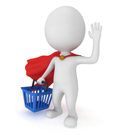 merchandise: Brave superhero with red cloak and blue shopping basket. Isolated on white 3d man. Merchandise, shopping, mystery shopper concept.