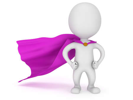 3d man - brave superhero with purple cloak. Isolated on white Stock fotó - 37909688