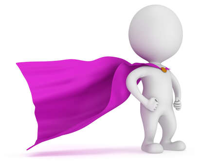 3d man - brave superhero with purple cloak. Isolated on white