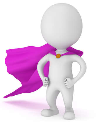pathetic: 3d man - brave superhero with purple cloak. Isolated on white