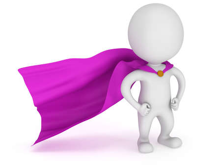 brave: 3d man - brave superhero with purple cloak. Isolated on white