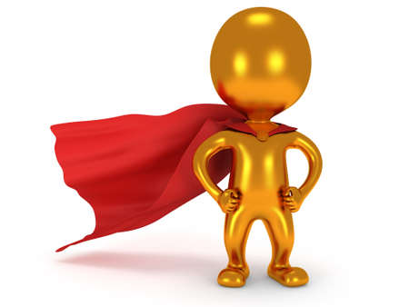 brave: Brave gold superhero with red cloak posing on white. Isolated 3d render. Power, success, freedom concept. Stock Photo