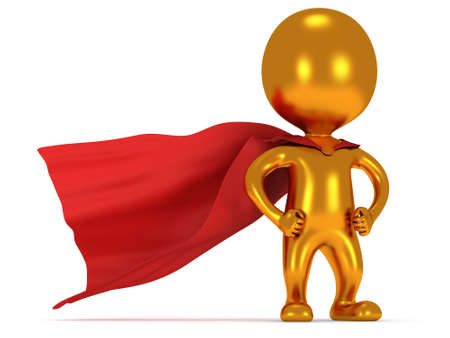 tough man: Brave gold hero with red cloak posing on white. Isolated 3d render. Power, success, freedom concept.