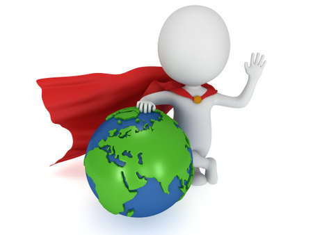 pathetic: Brave superhero stand near world sphere. Isolated on white 3d render. Business, manager, earth concept.