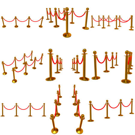 Set of golden rope barrier - 3d render. Fence with red rope isolated on white. Luxury, VIP concept photo