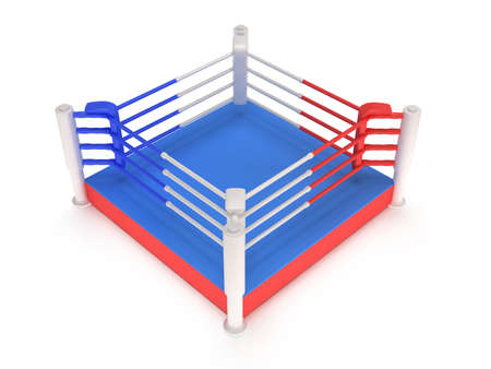 bleachers: Boxing ring. High resolution 3d render. Sport, competition, match, arena concept.