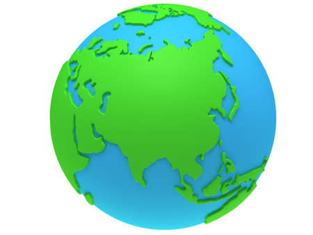 meridian: Earth planet globe. 3D render. Russia view. On white background. Stock Photo