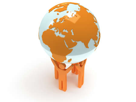 Earth planet globe and group of people. 3D render. Praise, teamwork, eco, business, global concept. photo