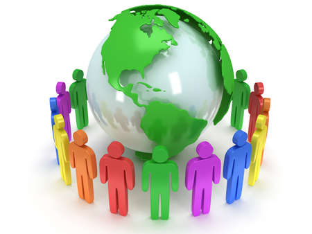 Earth planet globe and group of people. 3D render. Praise, teamwork, eco, business, global concept.