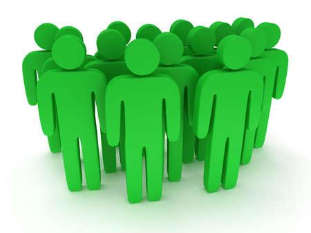 Groep van gestileerde groene mensen staan op een witte. Geïsoleerde 3d render icoon. Teamwork, business concept. Stockfoto