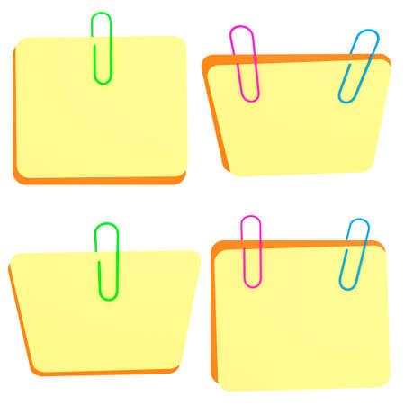 your text here: 3D note with paperclip - place for an inscription. Set. Place for your text here. Template for your design. Stock Photo
