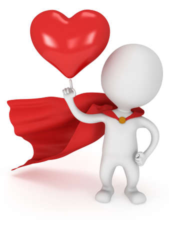 winning proposal: Brave superhero lover with red cloak and big red heart on pointing finger. Isolated on white 3d render. Love, wedding marriage ceremony and Valentines Day celebration concept.