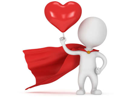 pathetic: Brave superhero lover with red cloak and big red heart on pointing finger. Isolated on white 3d render. Love, wedding marriage ceremony and Valentines Day celebration concept.