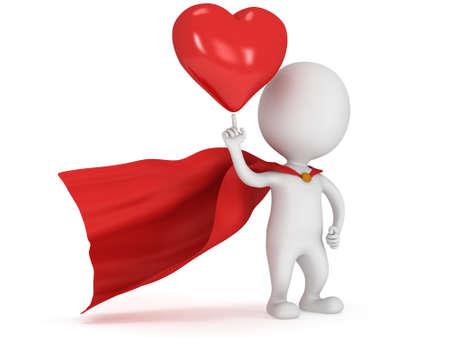Amateur de super-héros Brave avec manteau rouge et grand coeur rouge sur pointant du doigt. Isolé sur blanc 3D rendre. L'amour, la cérémonie de mariage de mariage et le jour le concept de la célébration de la Saint-Valentin. Banque d'images - 37972932