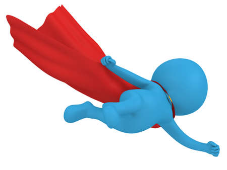 pathetic: Man brave superhero with red cloak flying forward. Isolated on white 3d render.