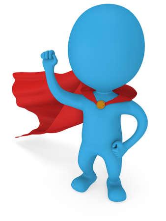 Man tapfere Superheld mit rotem Mantel und Zeichen des Sieges - rechte Hand erhoben sich geballte Faust. Isoliert auf weißem 3D-Darstellung.