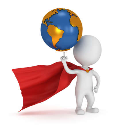 pathetic: Brave superhero hold world on pointing finger. Isolated on white 3d render. Business, manager, earth concept.