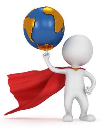 Brave Superhelden Reisenden hold Welt auf Zeigefinger. Isoliert auf weißem 3D-Darstellung. Business, Manager, Erde-Konzept.