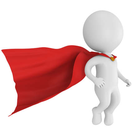 Man brave superhero with red cloak levitate above. Isolated on white 3d render. Flying, power, freedom concept. Imagens