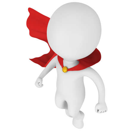 Man tapfere Superheld mit rotem Mantel schweben über. Isoliert auf weißem 3D-Darstellung. Fliegen, Macht, Freiheit Konzept. Lizenzfreie Bilder