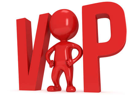 3d VIP man - human and huge letters. Isolated on white. photo