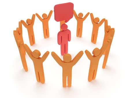 uomo rosso: People in piedi in cerchio intorno all'uomo rosso. Rendering 3D. Lavoro di squadra, le imprese, la lode, il concetto di partenariato. Archivio Fotografico