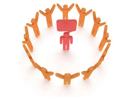 praise: Orange people standing in circle around red man. 3D render. Teamwork, business, praise, partnership concept. Stock Photo
