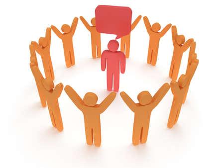 praise hands: Orange people standing in circle around red man. 3D render. Teamwork, business, praise, partnership concept. Stock Photo