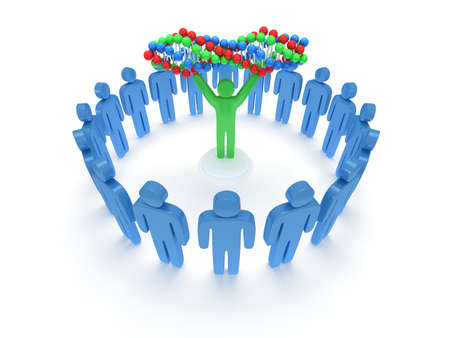 praise: Blue people in circle around green man with DNA chain. 3D render. Teamwork, business, praise, partnership, medicine. Stock Photo
