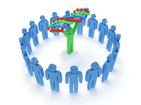 praise: Blue people in circle around green man with DNA chain. 3D render. Teamwork, business, praise, partnership, medicine. Stock Photo