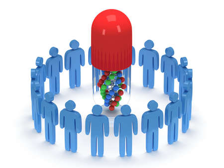 praise: Blue people in circle around pill with DNA chain within. 3D render. Teamwork, business, praise, partnership, pills, medicine. Stock Photo