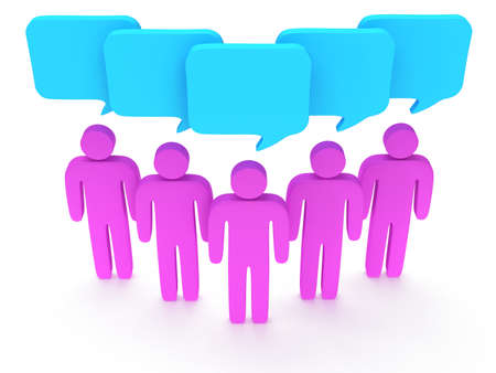 Wedge group of stylized pink people with chat bubbles stand on white. Isolated 3d render icon. Teamwork, business, conference, concept. photo