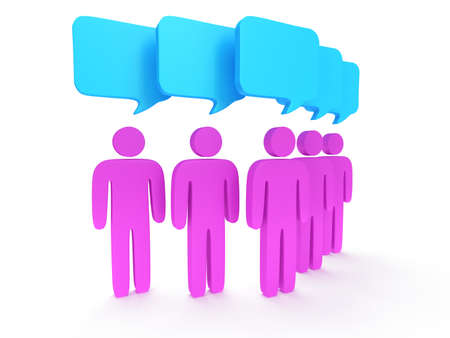 wedge: Wedge group of stylized pink people with chat bubbles stand on white. Isolated 3d render icon. Teamwork, business, conference, concept.