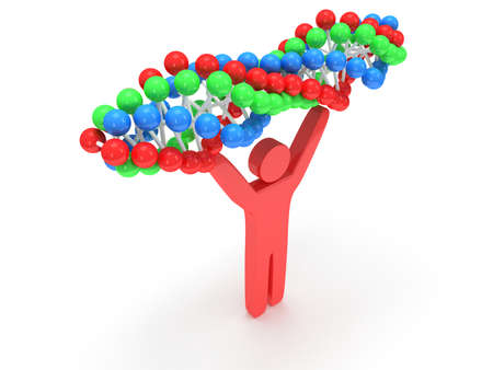 praise: Red man with DNA chain on white. 3D render. Praise, partnership, medicine.