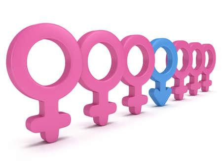man and woman sex: Male sign in row of Female signs on white background. 3D render. Gender, sex, love, man and woman concept.