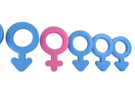 man and woman sex: Female sign in row of Male signs on white background. 3D render. Gender, sex, love, man and woman concept.