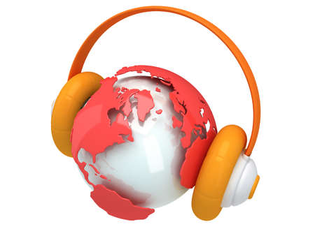 Earth planet globe with headphone. 3D render photo