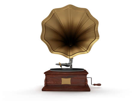 3d old vintage gramophone isolated on white background Stock Photo