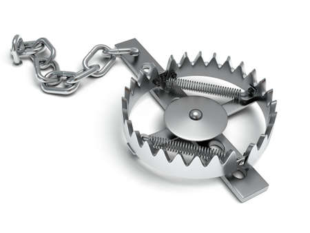 mantrap: Metal animal trap open. Attached to the ground with a metal chain