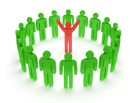 praise: Green people standing in circle around red man. 3D render. Teamwork, business, praise, partnership concept. Stock Photo