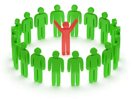 uomo rosso: Green people standing in circle around red man. 3D render Archivio Fotografico