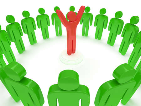 praise hands: Green people standing in circle around red man. 3D render Stock Photo