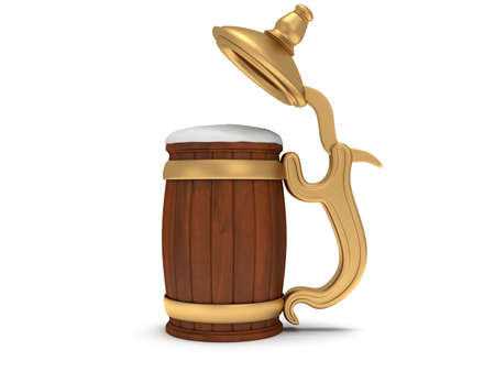 stein: Toby jug with foam beer isolated on white. 3d render