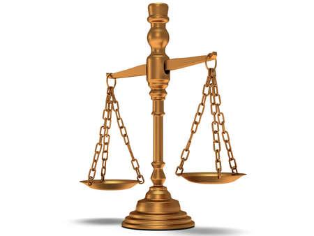Schalen Justitie op wit. 3d Render