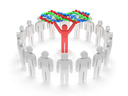White people in circle around red man with DNA chain. 3D render. Teamwork, business, praise, partnership, medicine.