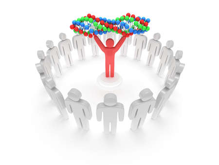 praise: White people in circle around red man with DNA chain. 3D render. Teamwork, business, praise, partnership, medicine.
