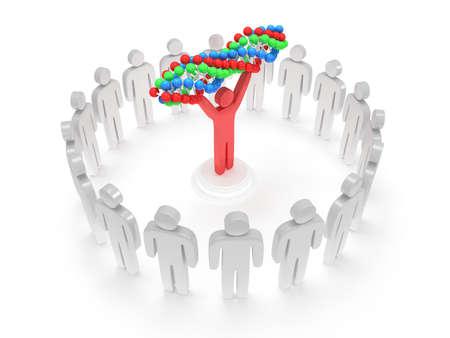 uomo rosso: I bianchi in cerchio intorno all'uomo rosso con la catena del DNA. Rendering 3D. Lavoro di squadra, le imprese, la lode, il partenariato, la medicina.